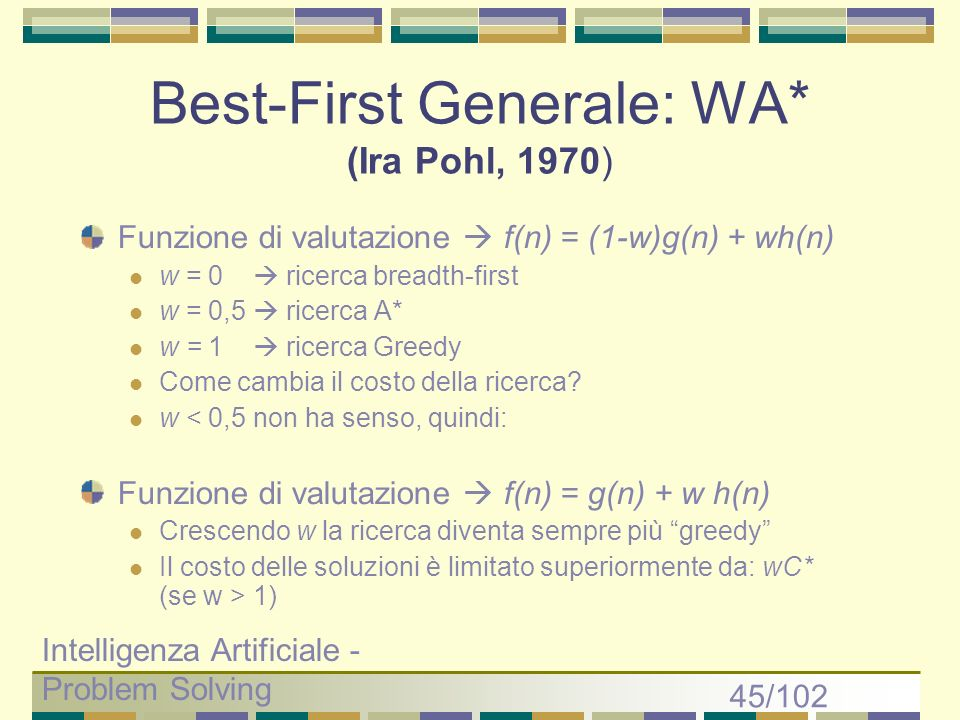 Best-First Generale: WA* (Ira Pohl, 1970)