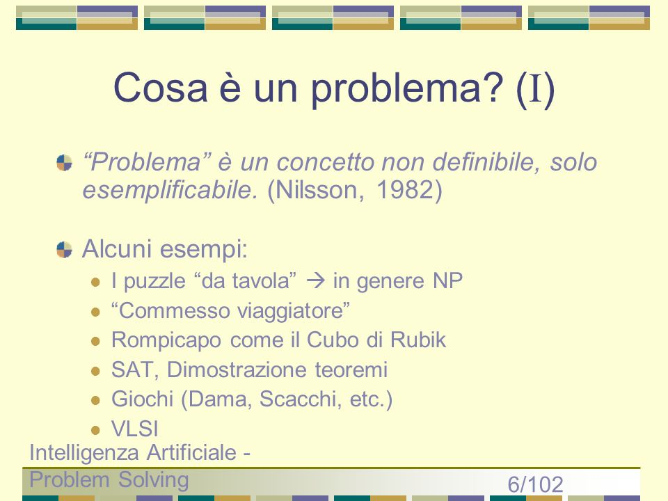 Cosa è un problema (I) Problema è un concetto non definibile, solo esemplificabile. (Nilsson, 1982)
