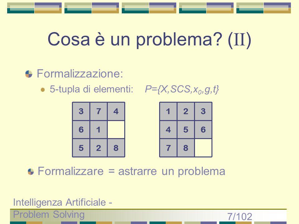 Cosa è un problema (II) Formalizzazione: