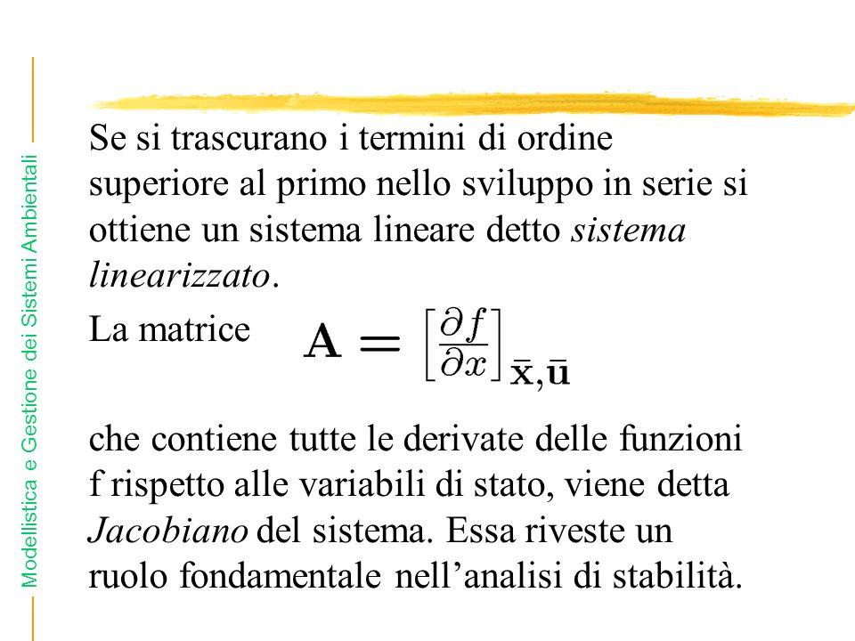 Se si trascurano i termini di ordine superiore al primo nello sviluppo in serie si ottiene un sistema lineare detto sistema linearizzato.