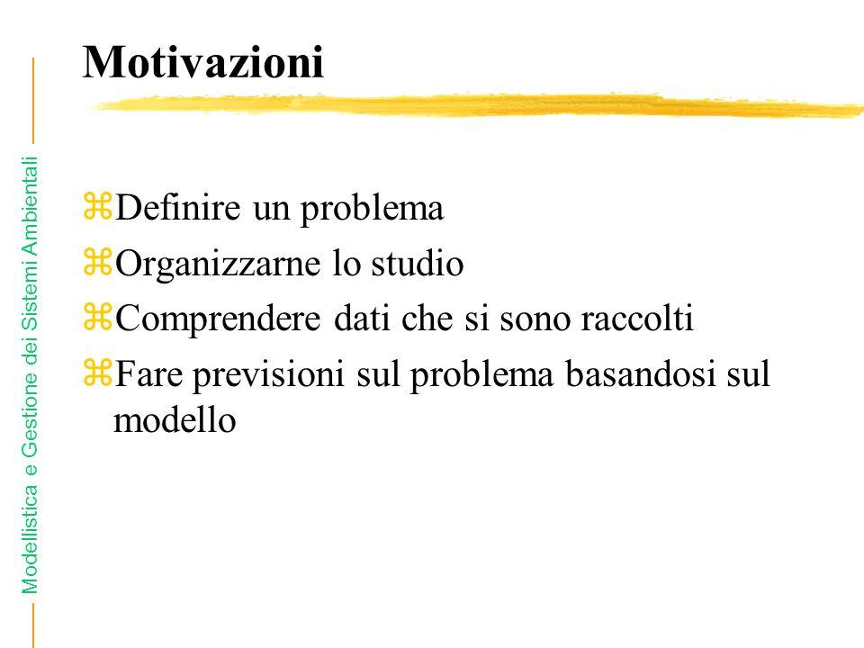 Motivazioni Definire un problema Organizzarne lo studio