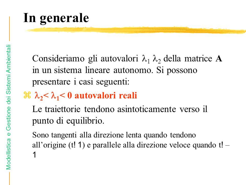 In generale Consideriamo gli autovalori 1 2 della matrice A in un sistema lineare autonomo. Si possono presentare i casi seguenti: