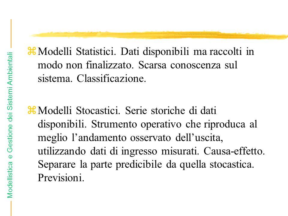 Modelli Statistici. Dati disponibili ma raccolti in modo non finalizzato. Scarsa conoscenza sul sistema. Classificazione.