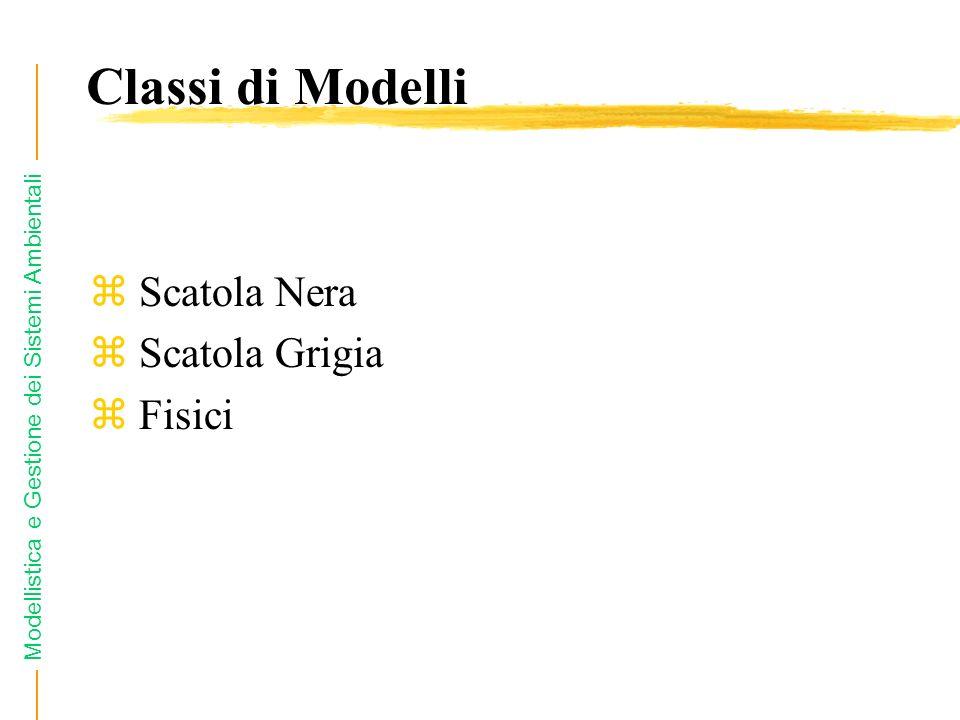 Classi di Modelli Scatola Nera Scatola Grigia Fisici