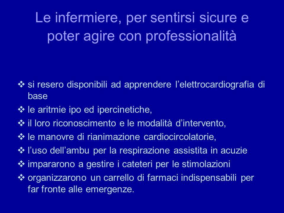 Le infermiere, per sentirsi sicure e poter agire con professionalità