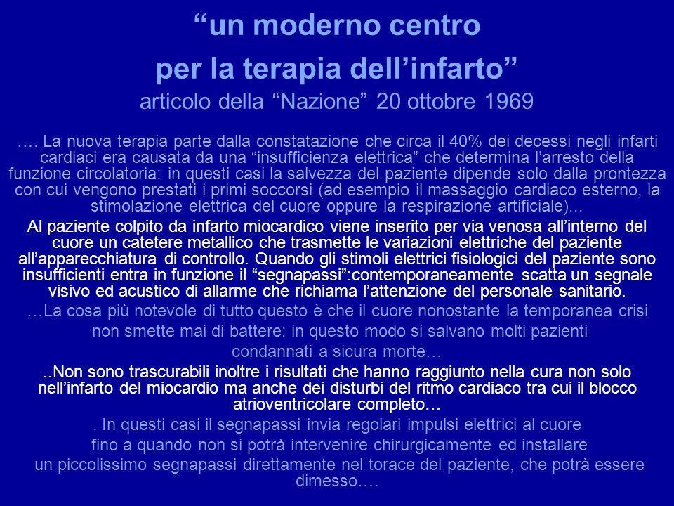 un moderno centro per la terapia dell'infarto articolo della Nazione 20 ottobre 1969