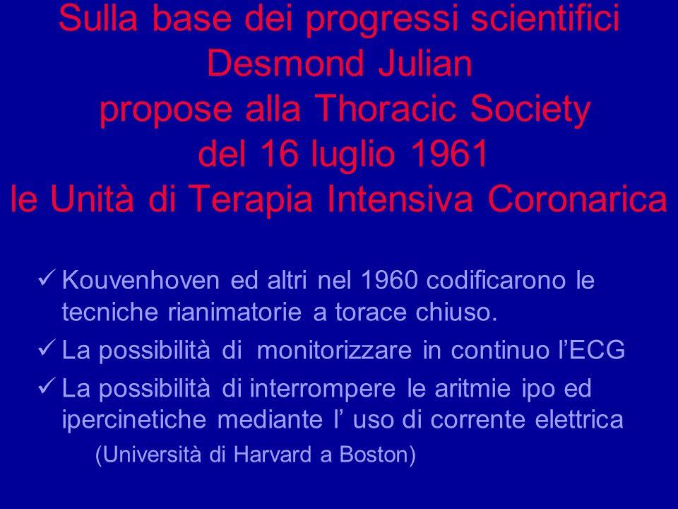 Sulla base dei progressi scientifici Desmond Julian propose alla Thoracic Society del 16 luglio 1961 le Unità di Terapia Intensiva Coronarica