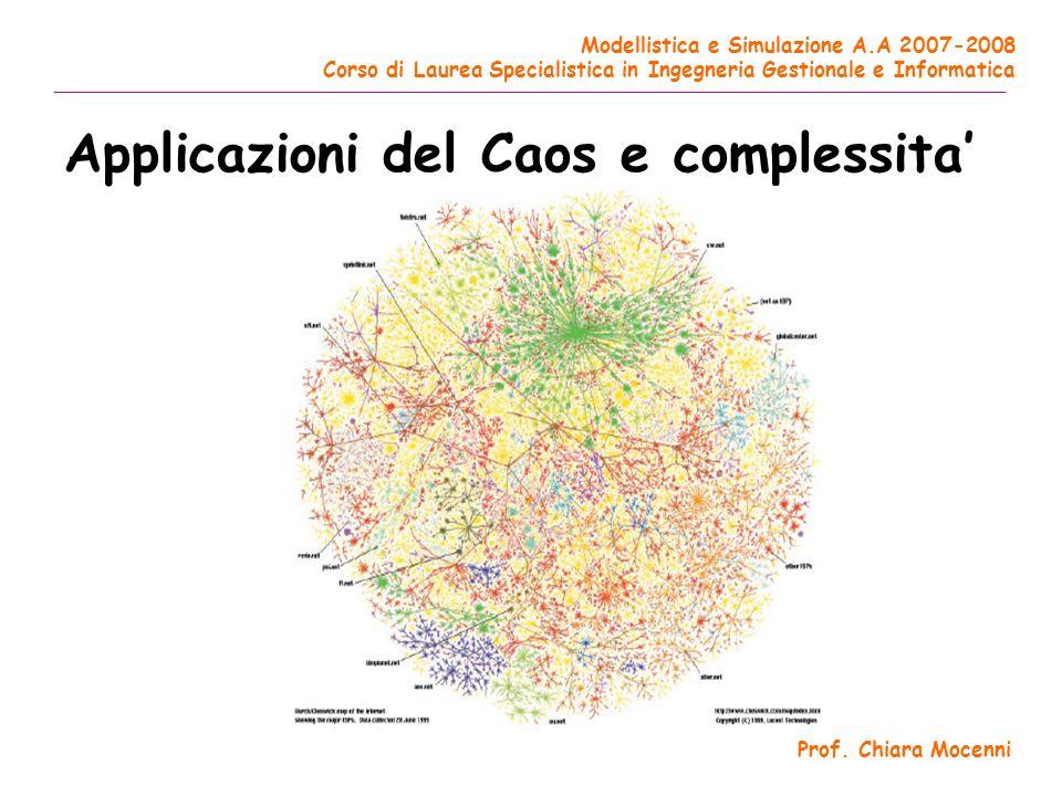 Applicazioni del Caos e complessita'