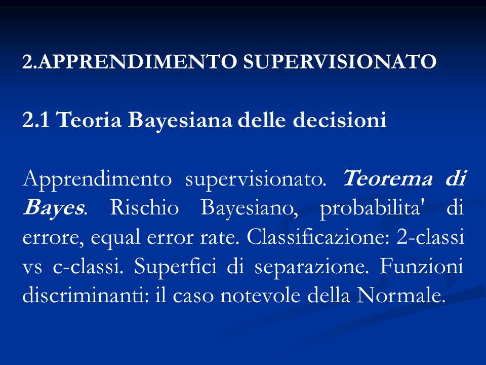 2.1 Teoria Bayesiana delle decisioni
