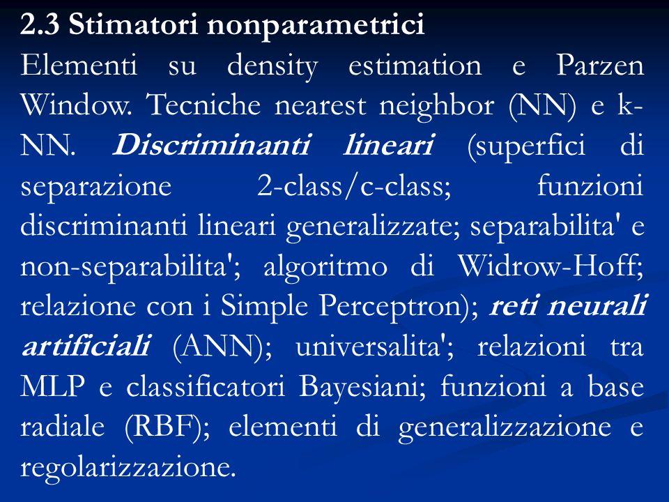 2.3 Stimatori nonparametrici