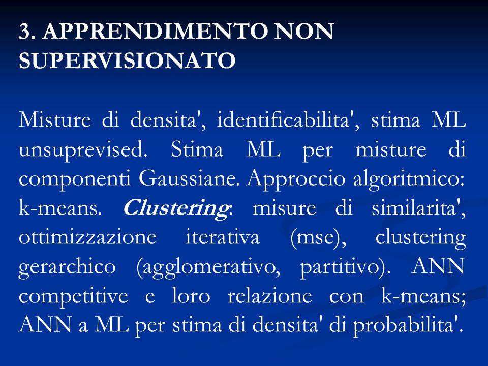 3. APPRENDIMENTO NON SUPERVISIONATO