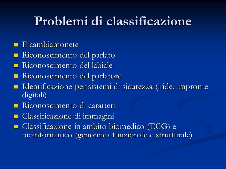 Problemi di classificazione