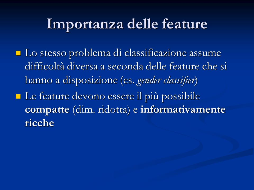 Importanza delle feature