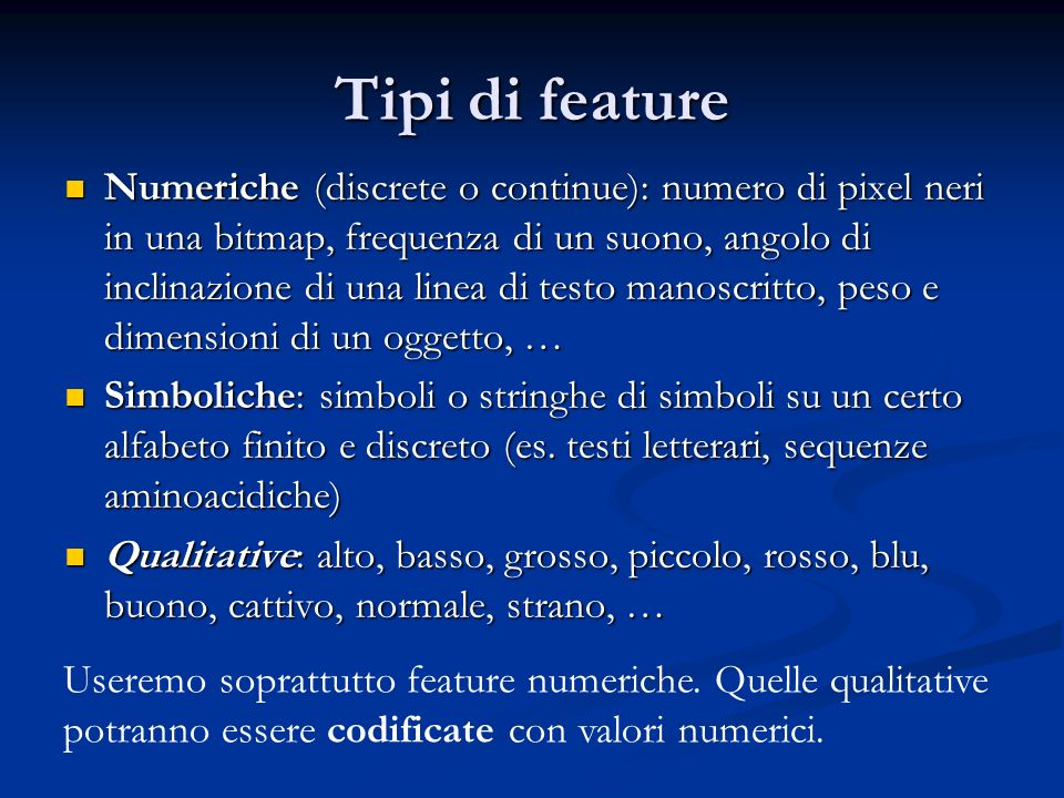 Tipi di feature