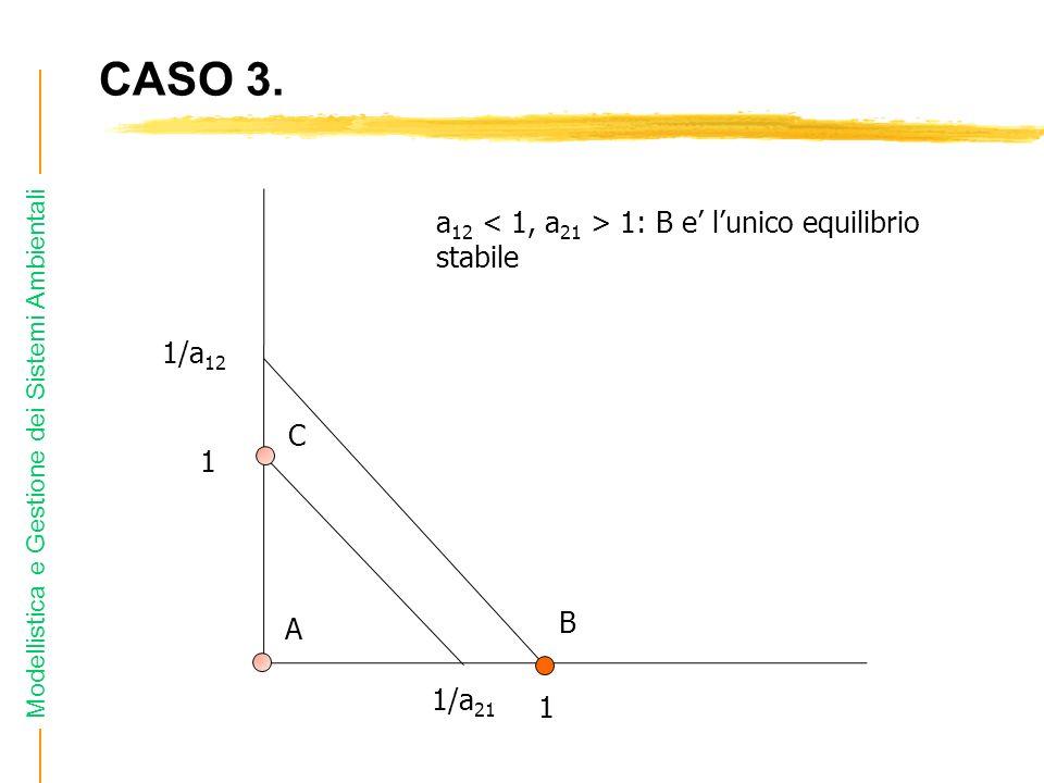 CASO 3. a12 < 1, a21 > 1: B e' l'unico equilibrio stabile 1/a12