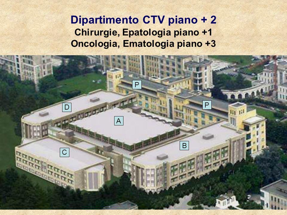 Dipartimento CTV piano + 2 Chirurgie, Epatologia piano +1 Oncologia, Ematologia piano +3