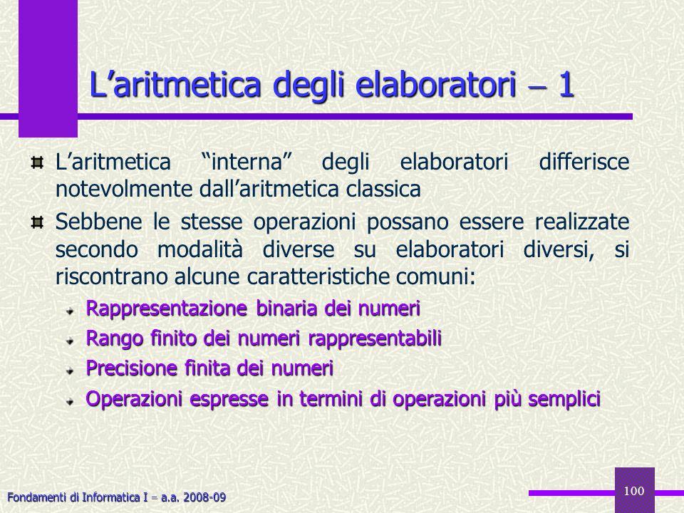 L'aritmetica degli elaboratori  1