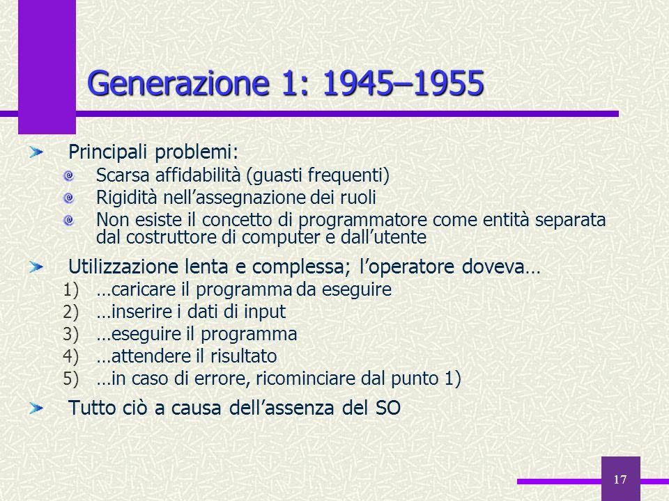 Generazione 1: 1945–1955 Principali problemi: