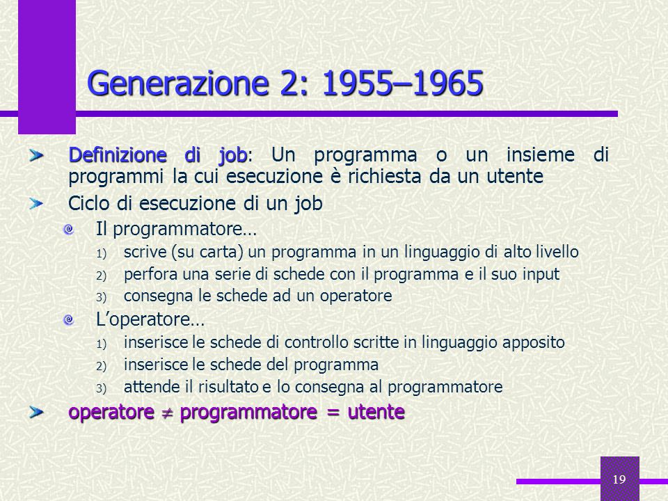 Generazione 2: 1955–1965Definizione di job: Un programma o un insieme di programmi la cui esecuzione è richiesta da un utente.