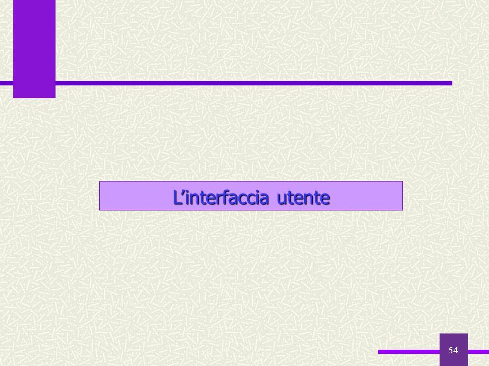 L'interfaccia utente