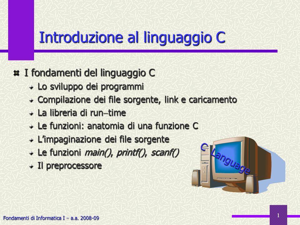 Introduzione al linguaggio C
