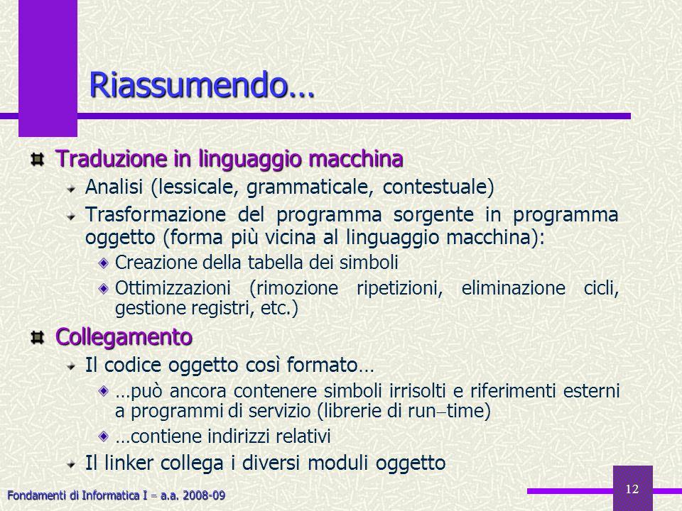 Riassumendo… Traduzione in linguaggio macchina Collegamento