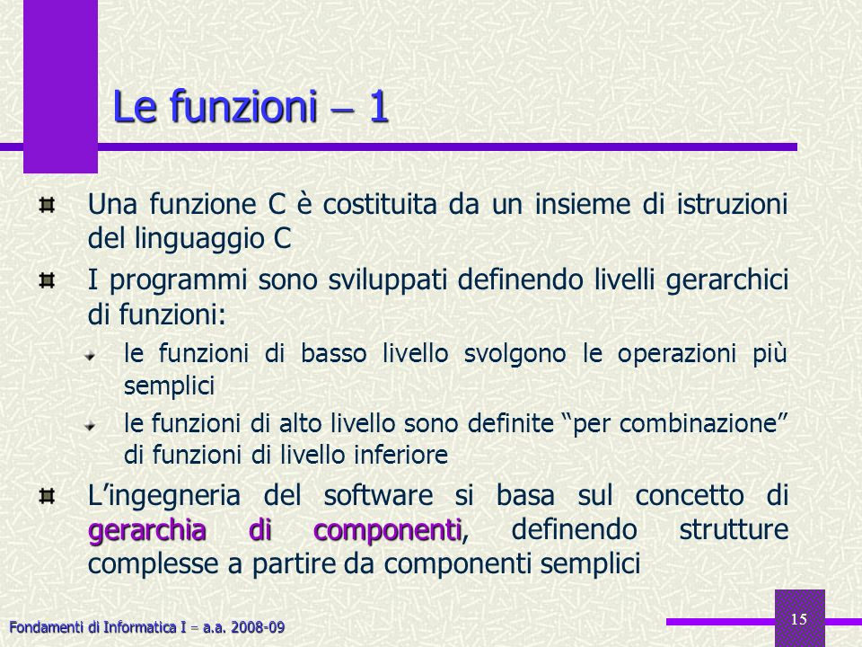 Le funzioni  1Una funzione C è costituita da un insieme di istruzioni del linguaggio C.