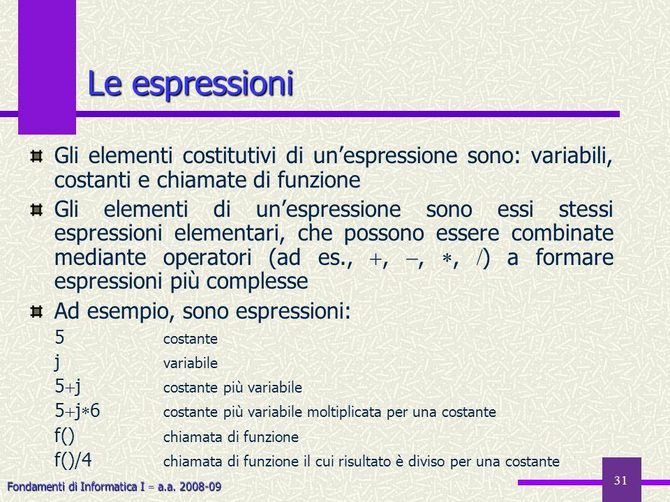 Le espressioni Gli elementi costitutivi di un'espressione sono: variabili, costanti e chiamate di funzione.