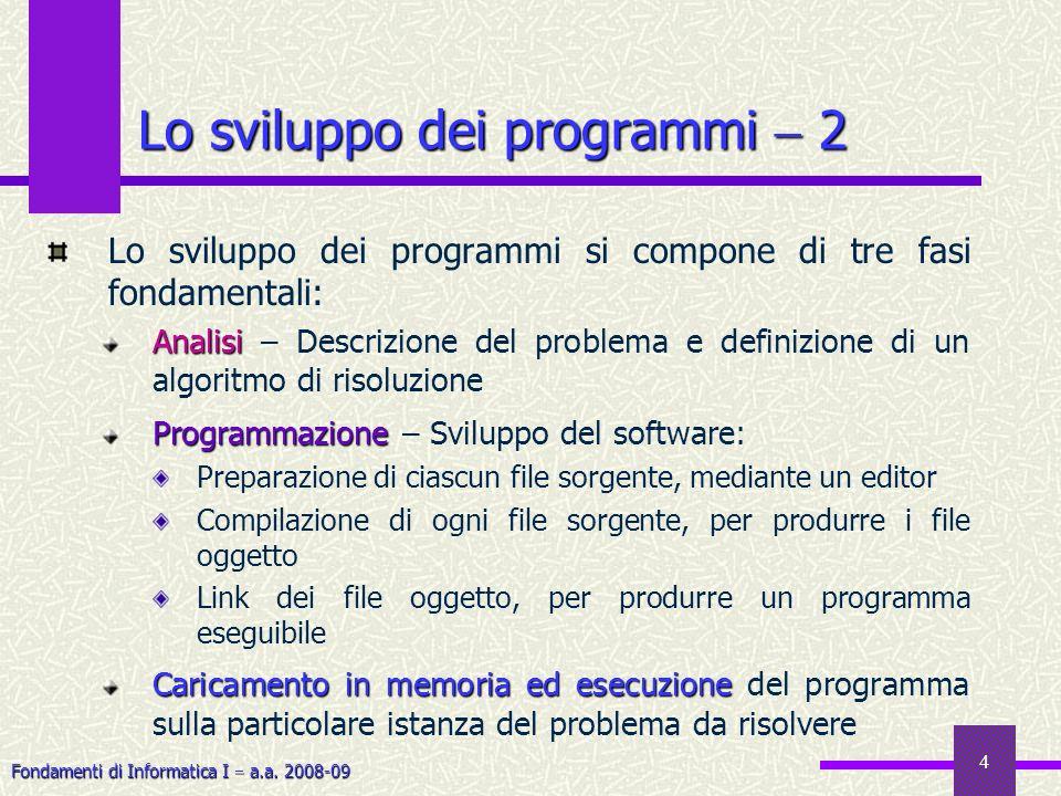Lo sviluppo dei programmi  2