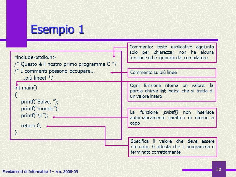 Esempio 1 include<stdio.h>