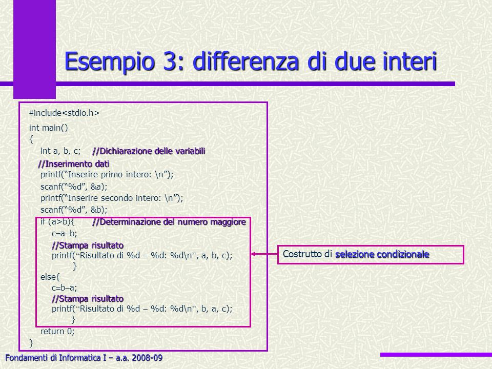 Esempio 3: differenza di due interi