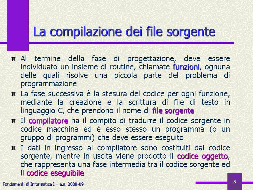 La compilazione dei file sorgente