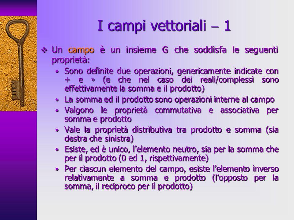 I campi vettoriali  1 Un campo è un insieme G che soddisfa le seguenti proprietà: