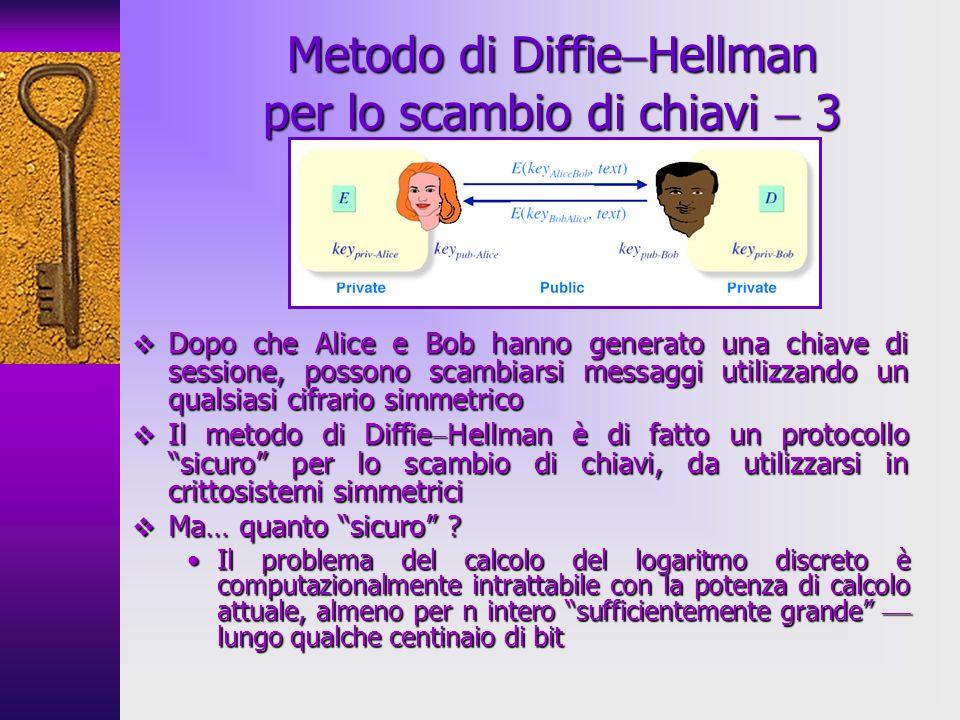 Metodo di DiffieHellman per lo scambio di chiavi  3