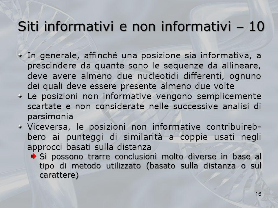Siti informativi e non informativi  10