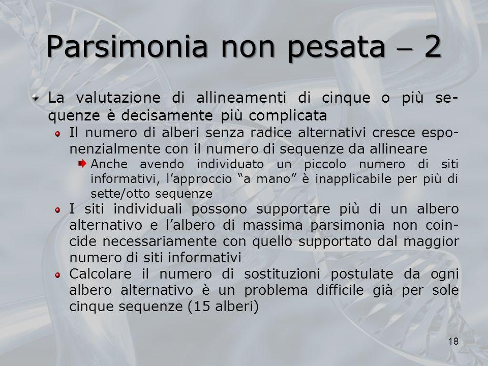 Parsimonia non pesata  2