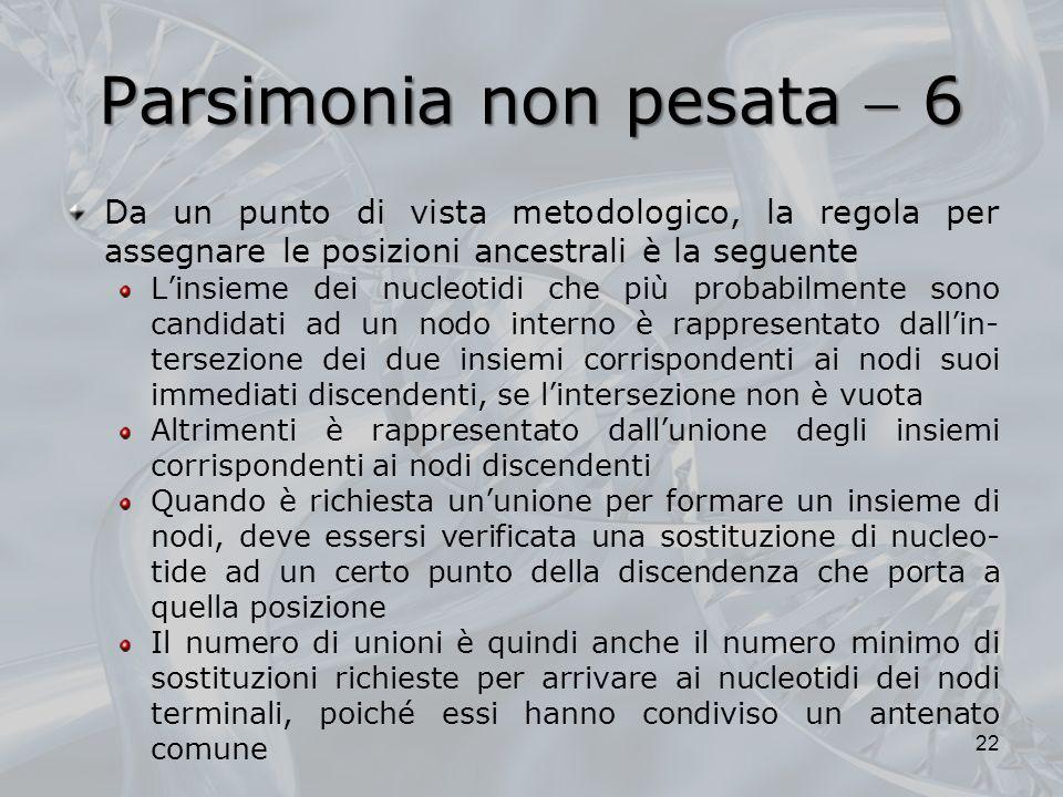 Parsimonia non pesata  6