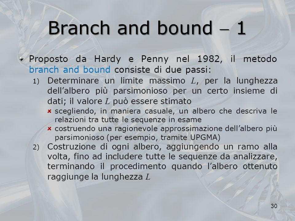 Branch and bound  1Proposto da Hardy e Penny nel 1982, il metodo branch and bound consiste di due passi: