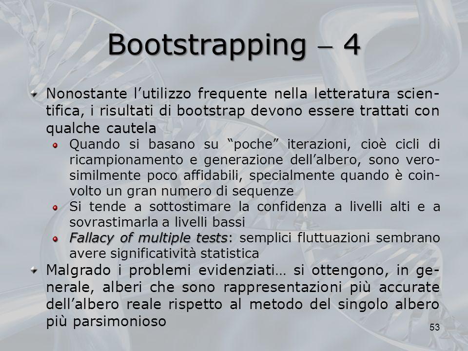 Bootstrapping  4Nonostante l'utilizzo frequente nella letteratura scien-tifica, i risultati di bootstrap devono essere trattati con qualche cautela.