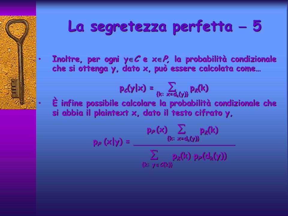 La segretezza perfetta  5 pP (x|y) = ____________________