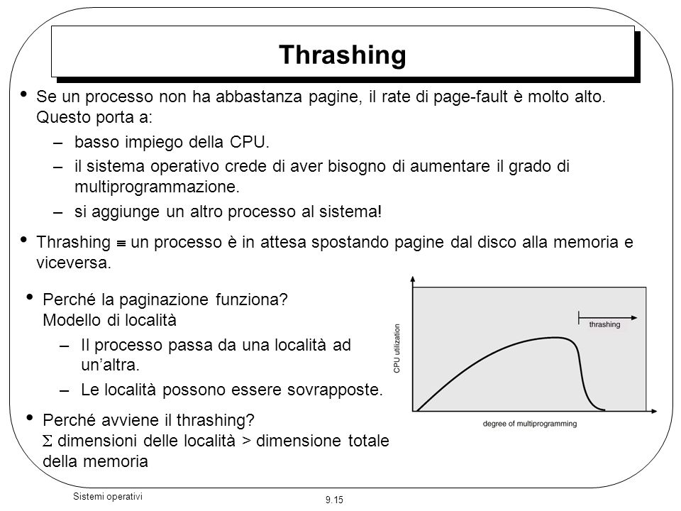 Thrashing Se un processo non ha abbastanza pagine, il rate di page-fault è molto alto. Questo porta a: