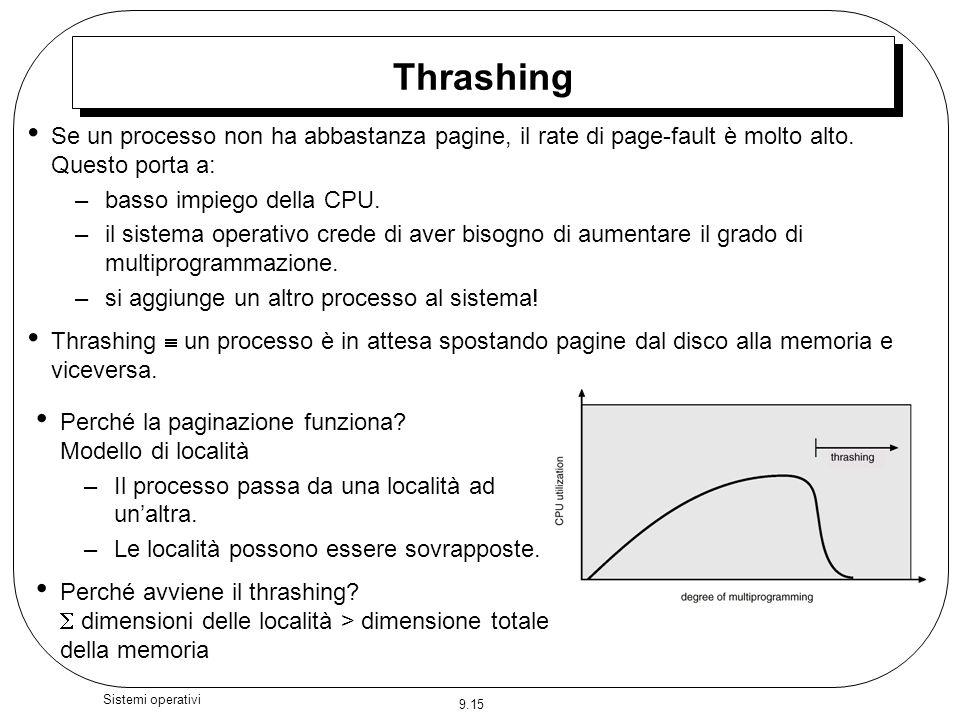 ThrashingSe un processo non ha abbastanza pagine, il rate di page-fault è molto alto. Questo porta a: