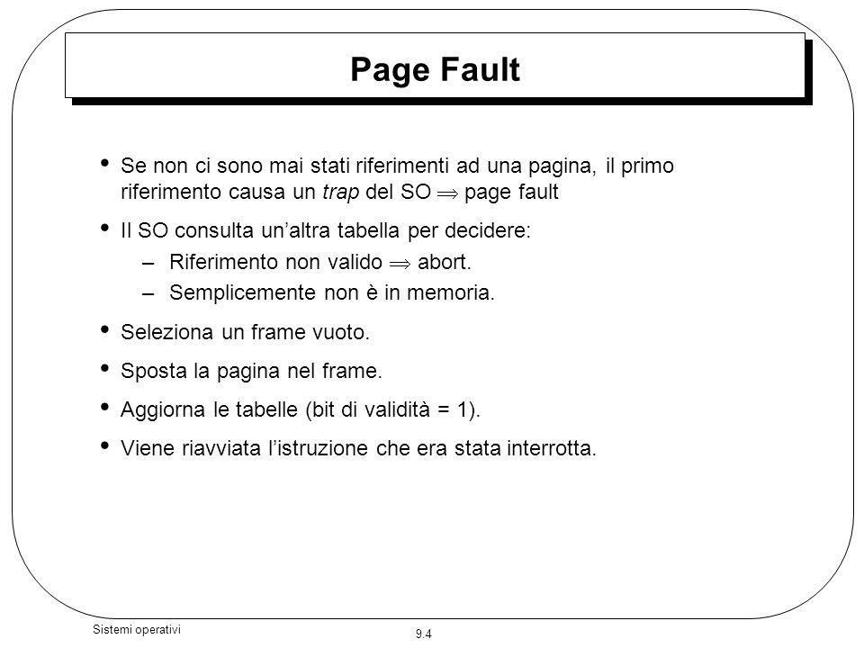 Page Fault Se non ci sono mai stati riferimenti ad una pagina, il primo riferimento causa un trap del SO  page fault.