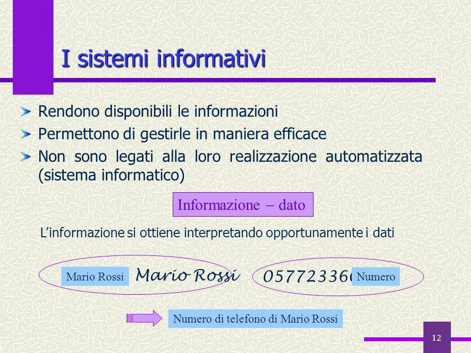 I sistemi informativi Rendono disponibili le informazioni