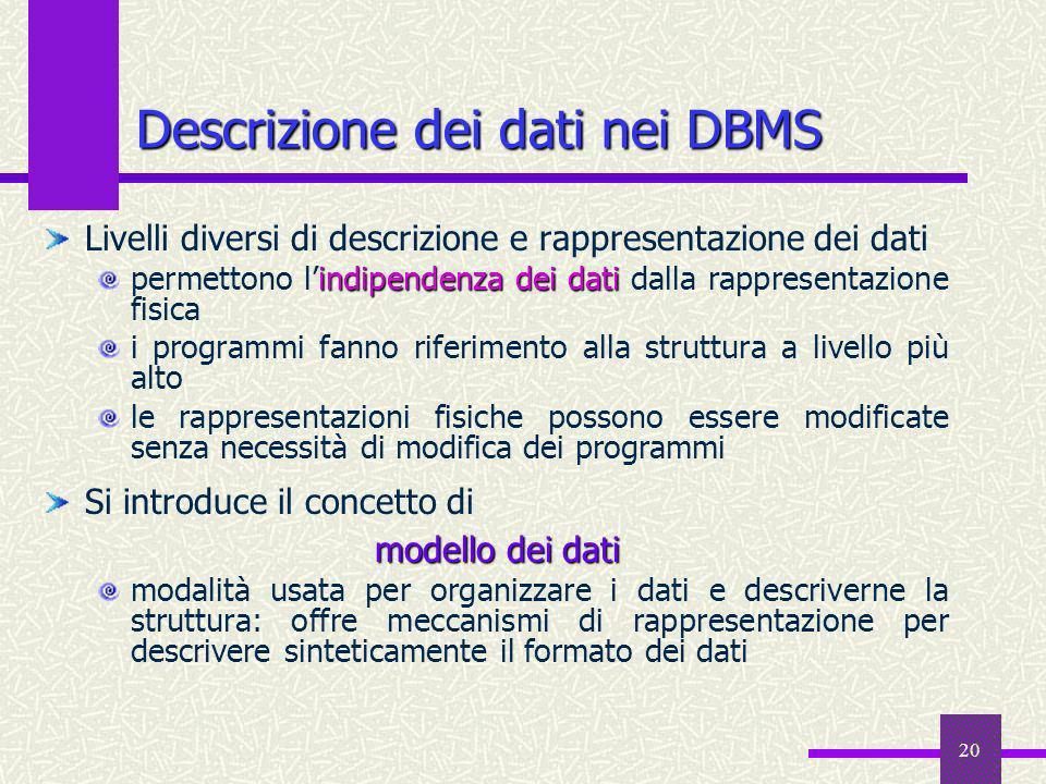 Descrizione dei dati nei DBMS