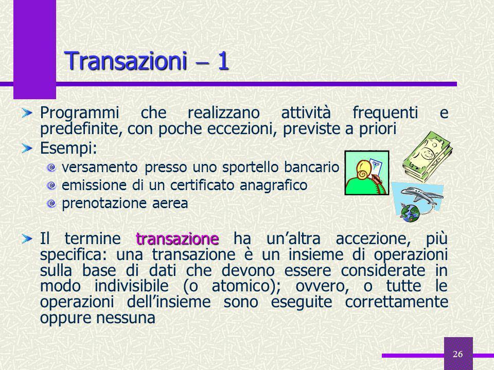 Transazioni  1 Programmi che realizzano attività frequenti e predefinite, con poche eccezioni, previste a priori.