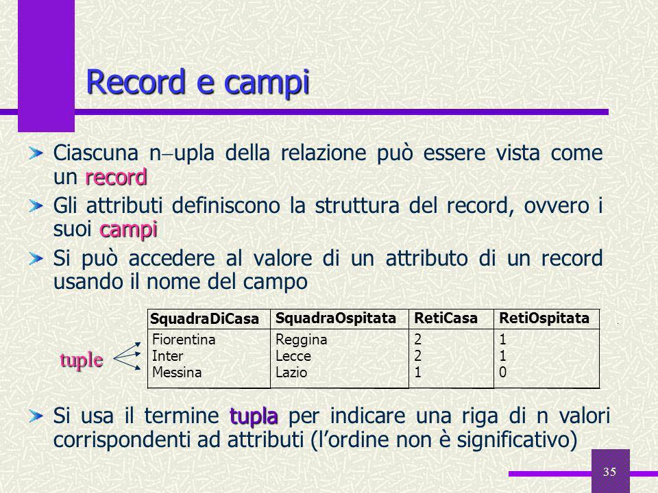 Record e campiCiascuna nupla della relazione può essere vista come un record.