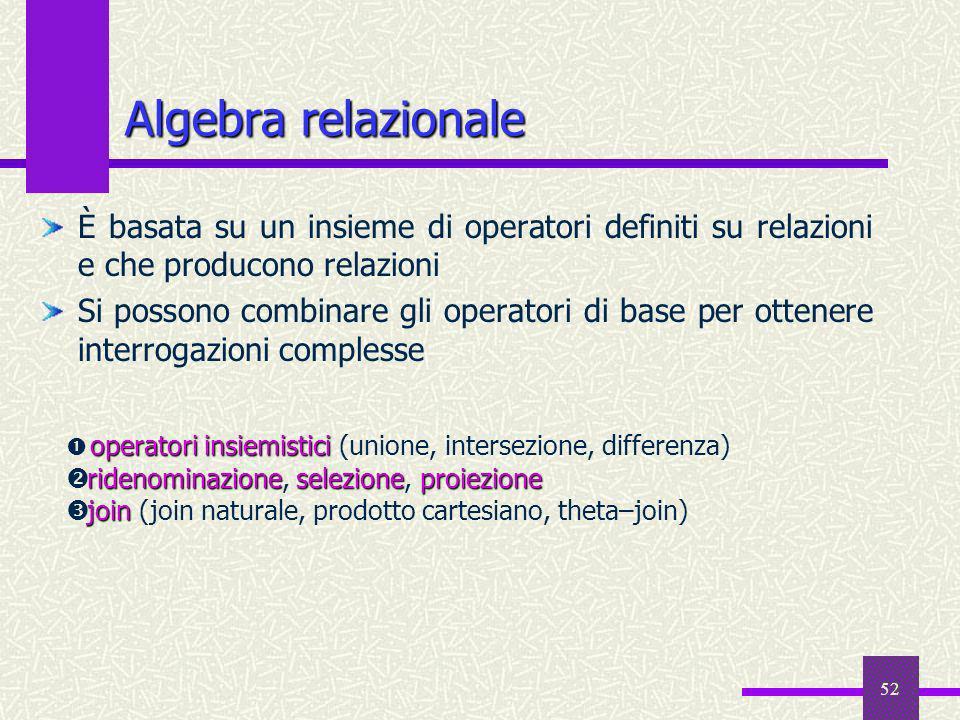 Algebra relazionale È basata su un insieme di operatori definiti su relazioni e che producono relazioni.