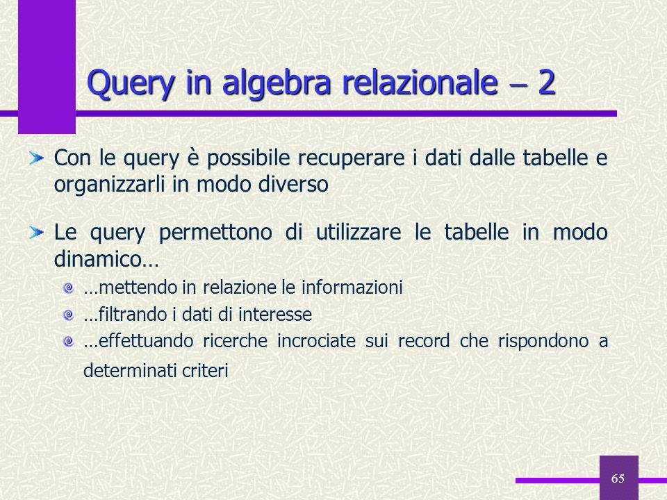 Query in algebra relazionale  2