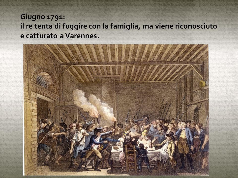 Giugno 1791: il re tenta di fuggire con la famiglia, ma viene riconosciuto e catturato a Varennes.